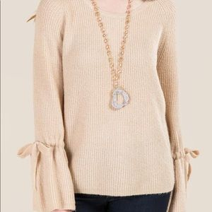 Francesca's Raquel Tie Sleeve Sweater